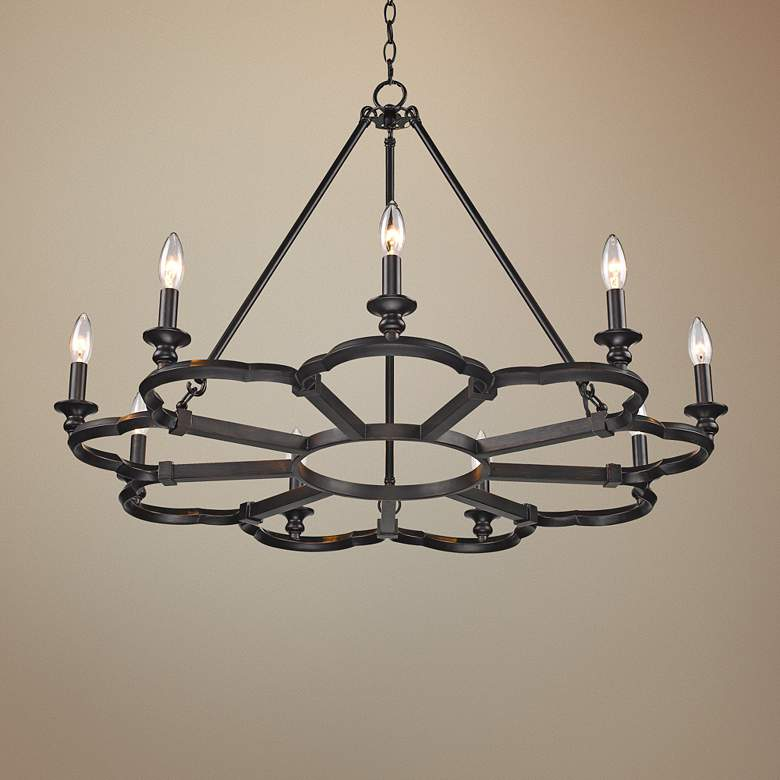 "Saxon 34 3/4"" Wide Aged Bronze 9-Light Chandelier"