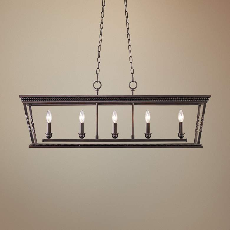 "Davenport 41""W Etruscan Bronze Kitchen Island Light Pendant"