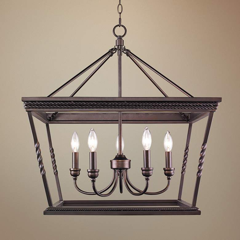 "Davenport 24"" Wide Etruscan Bronze 5-Light Pendant"