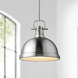 "Duncan 14"" Wide Pewter Pendant Light with Rod"