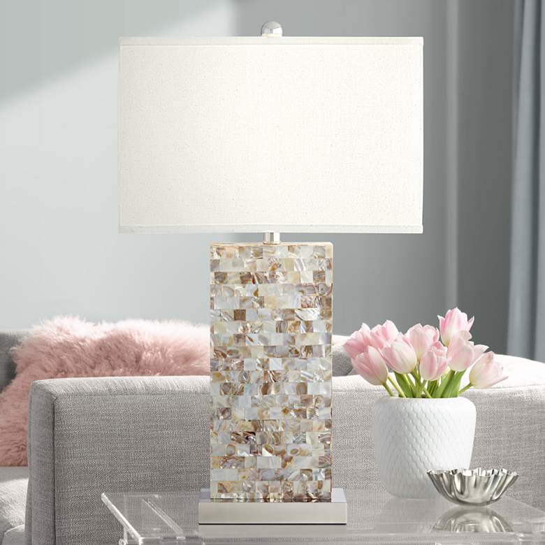 Kathy Ireland Kaira Mother of Pearl Block Table Lamp