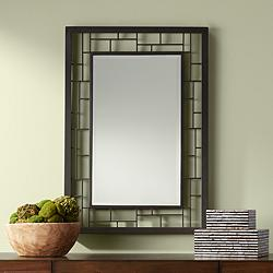 "Lennington Bronze Grid 27 3/4"" x 40"" Wall Mirror"