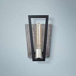 "Varaluz Zag 11"" High Black with Gray Wood Wall Sconce"