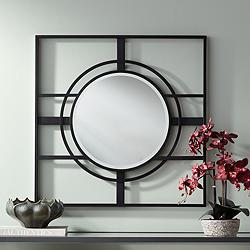 "Uttermost Eric Black 34"" Square Openwork Wall Mirror"