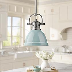 "Duncan 6 1/2"" Wide Pewter and Seafoam Blue Mini Pendant"