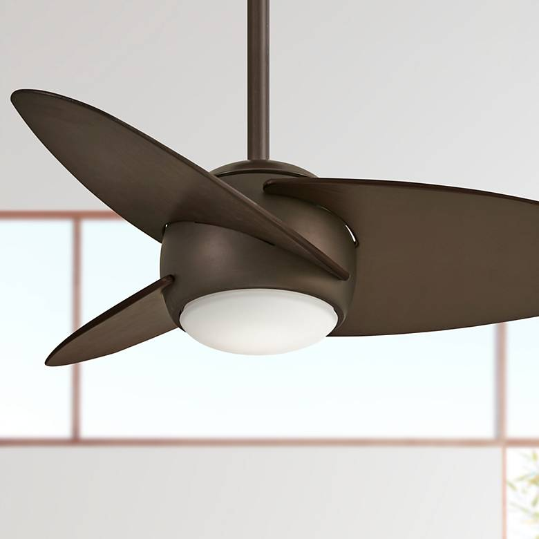 "36"" Minka Aire Slant Oil Rubbed Bronze LED Ceiling Fan"
