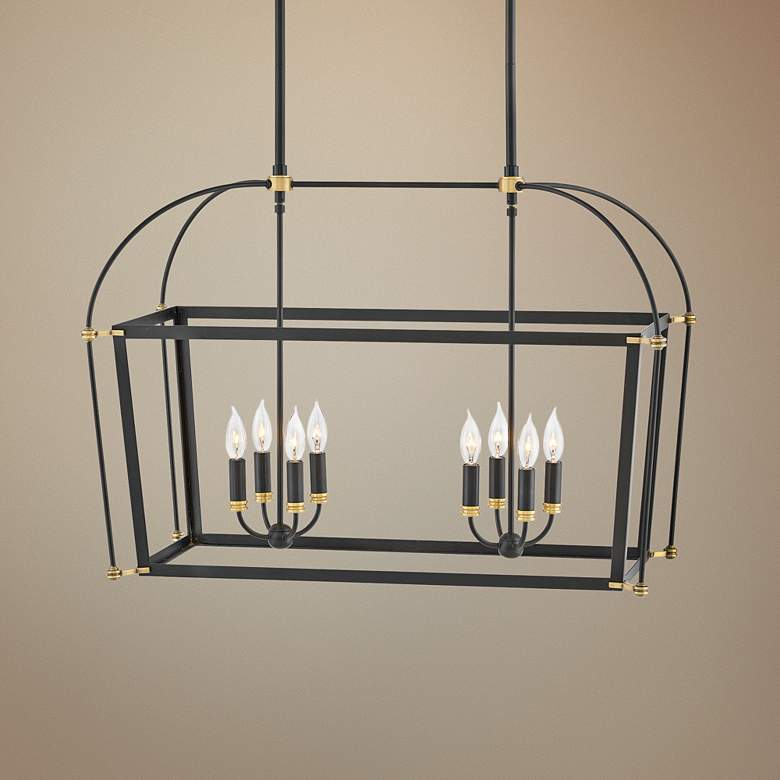 "Hinkley Selby 34"" Wide Black 8-Light Open Frame Chandelier"