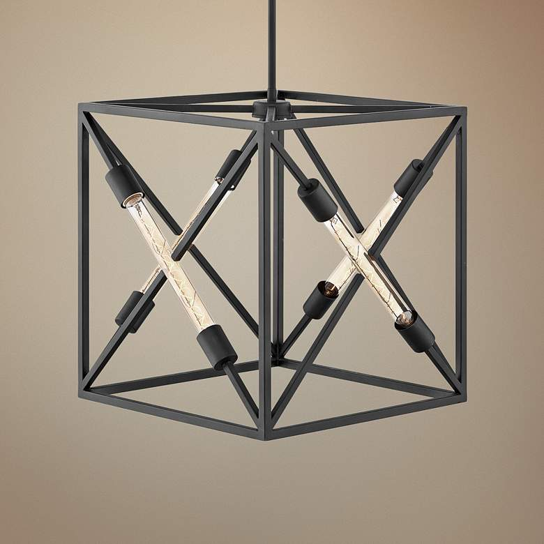 "Hinkley Hewitt 18"" Wide Satin Black 4-Light Pendant"