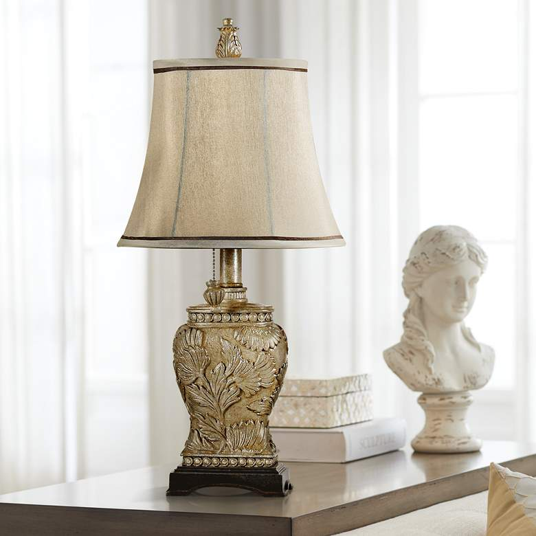 Champagne Ware Leaf Mini Accent Table Lamp with