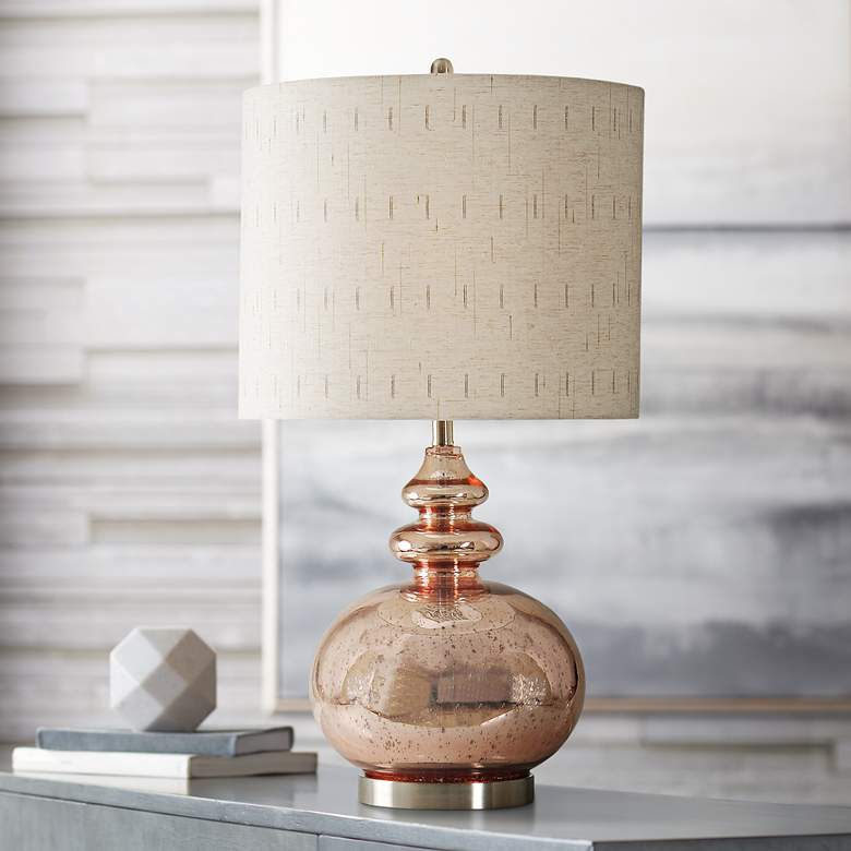 Gemvara Rose Gold Table Lamp with Beige Designer
