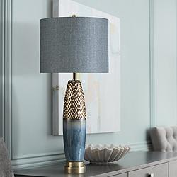 Bedford Blue and Copper Table Lamp w/ Bedford Styrene Shade