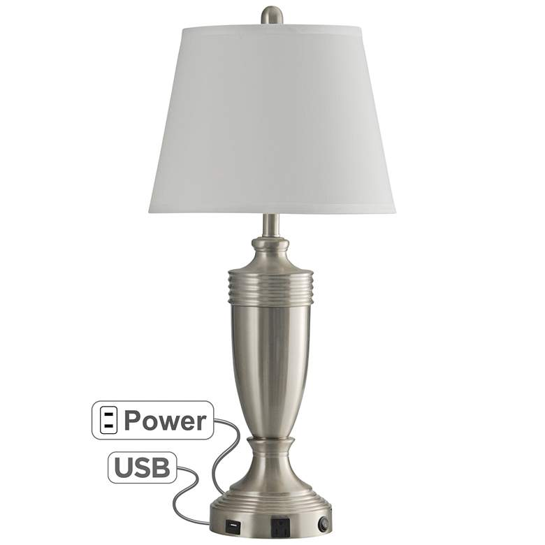 Brushed Steel Metal Table Lamp with Outlet and