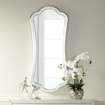 "Ryland Silver 19 3/4"" x 44"" Abstract Shape Wall Mirror"