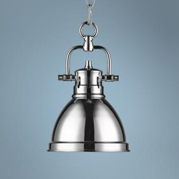 "Duncan 6 1/2"" Wide Chrome Mini Pendant with Chain"