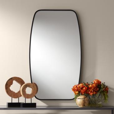 "Uttermost Erin 26 3/4"" x 46"" Black Metal Wall Mirror"