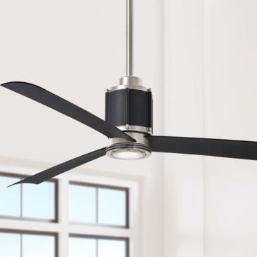"54"" Minka Aire Gear Brushed Steel and Black LED Ceiling Fan"