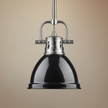 "Duncan 6 1/2"" Wide Pewter and Black Mini Pendant with Rod"