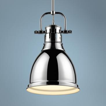 "Duncan 9"" Wide Chrome Mini Pendant with Rod"