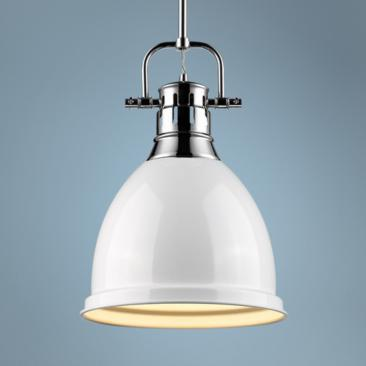 "Duncan 9"" Wide Chrome and White Mini Pendant with Rod"