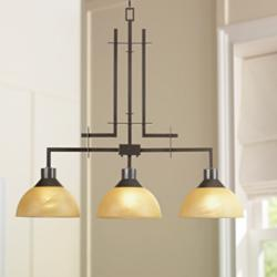 "Metro 33 3/4"" Wide Bronze Kitchen Island Light Chandelier"