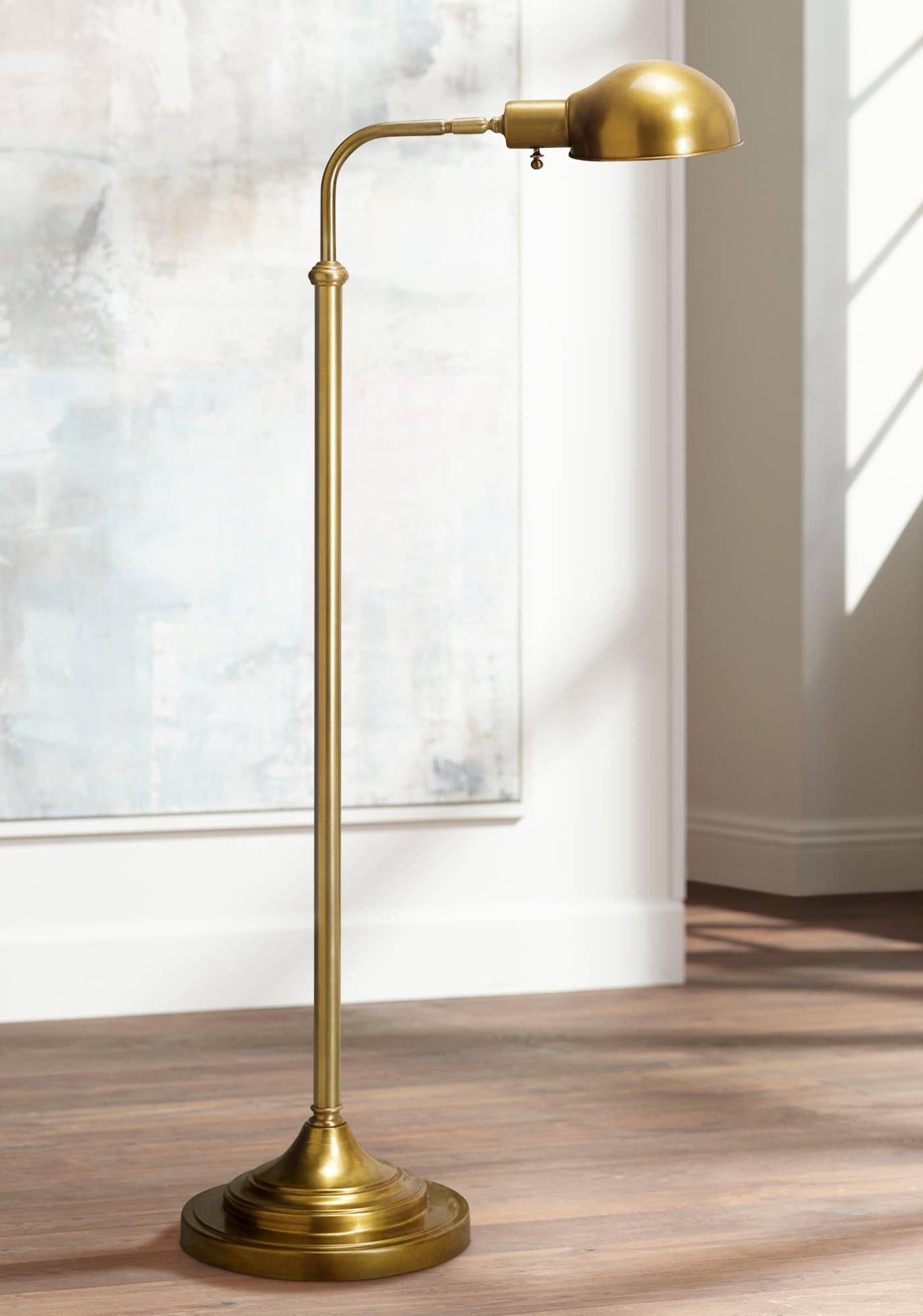 Robert abbey kinetic antique brass pharmacy floor lamp