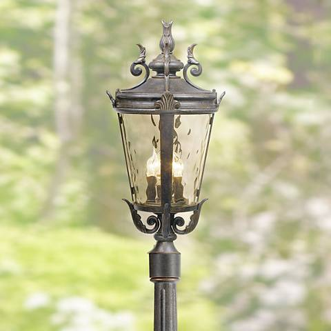 "Casa Marseille 99 3/4""H Bronze Post Light w/ Flat Base Pole"