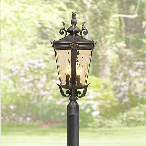 "Casa Marseille 107"" High Bronze Post Light with Burial Pole"