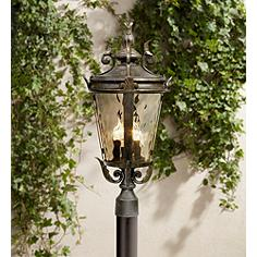 post in glass bronze water fixture product with lamp garden outdoor cheri lights oil home clear light rubbed decor y
