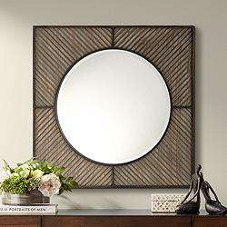 "Vertigo Driftwood and Gunmetal 34 3/4"" Square Wall Mirror"
