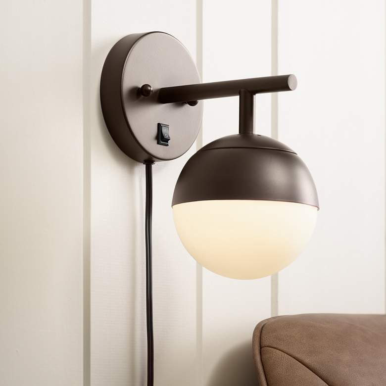Luna Frosted Glass Bronze Globe Pin-Up Wall Lamp
