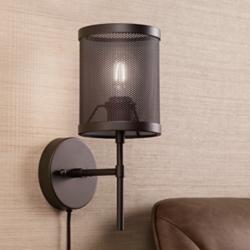 Scranton Bronze Mesh Metal Cage Pin-Up Wall Lamp