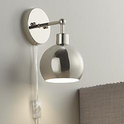 Possini Euro Cory Polished Nickel Orb Down Light Wall Lamp