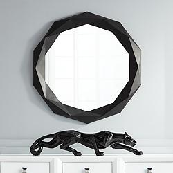 "Bruce Matte Black 30"" Round Geometric Wall Mirror"
