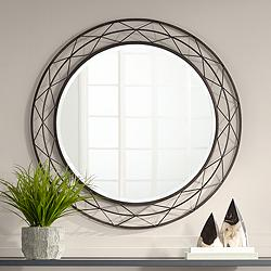 "Avril Speckled Bronze 36"" Round Metal Wire Wall Mirror"