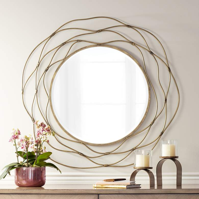 "Trina Antique Gold 36"" Metal Wave Openwork Wall Mirror"