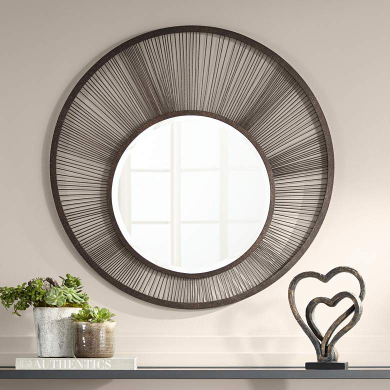 "Breckin Antique Black 33 1/2"" Round Wire Wall Mirror"