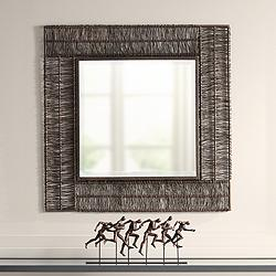 "Berlin Brown 30 3/4"" Square Wrapped Wire Wall Mirror"