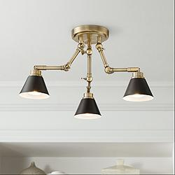 Pro Track Arnold 3-Light Antique Brass LED Ceiling Light