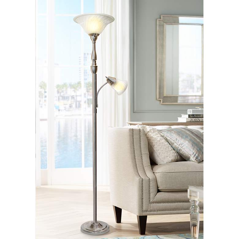 Elegant Designs Mother Daughter Nickel 2-Light Floor Lamp