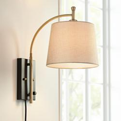 Chester Antique Brass and Black Wall Lamp