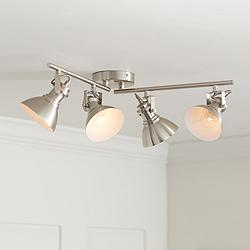 Otis 4-Light Bushed Nickel Metal Track Fixture