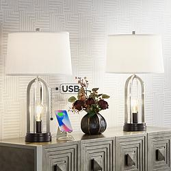 Marcel Brushed Nickel Night Light USB Table Lamps Set of 2