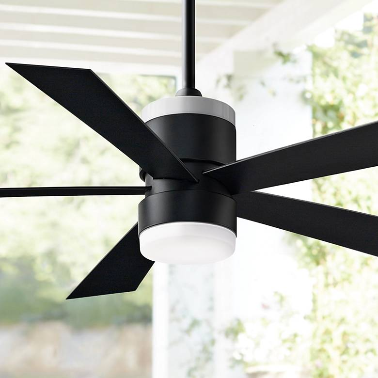 "52"" Fanimation Torch Black Damp LED Ceiling Fan"