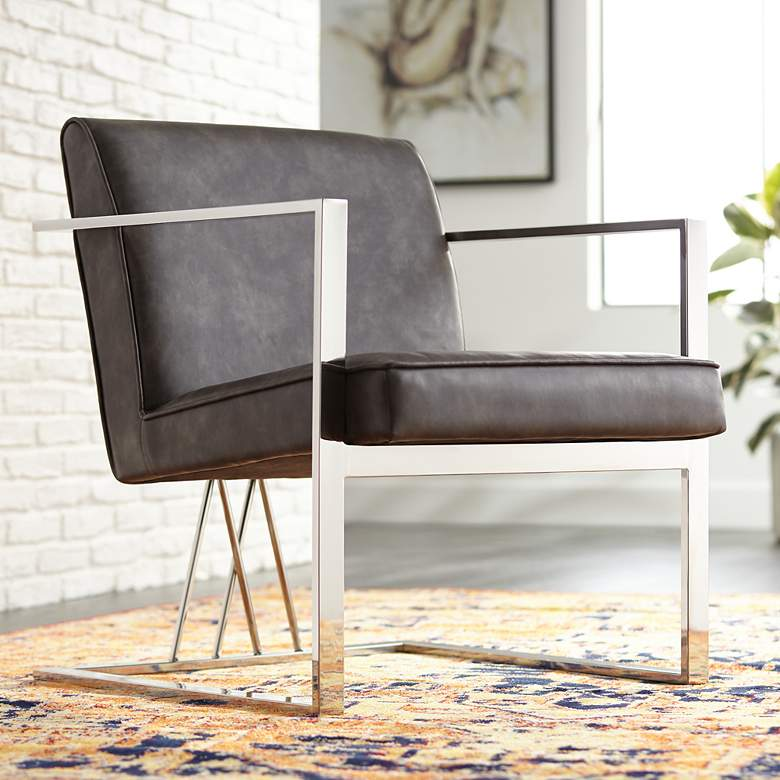 Fairmont Brown Faux Leather Accent Chair