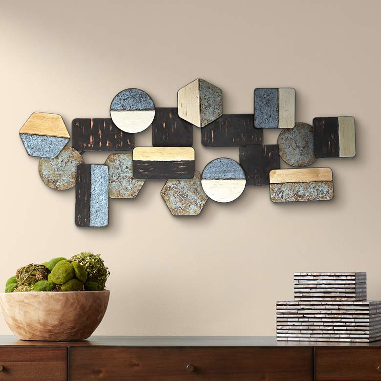 "Art Deco Shapes 43 1/2"" Wide Metal Wall Art"