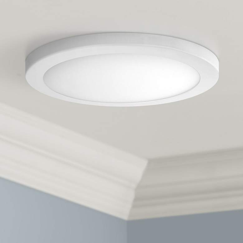 "Platter 15"" Round White LED Outdoor Ceiling Light"