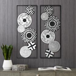 "Black and White Discs 35 1/2"" High Metal Wall Art Set of 2"