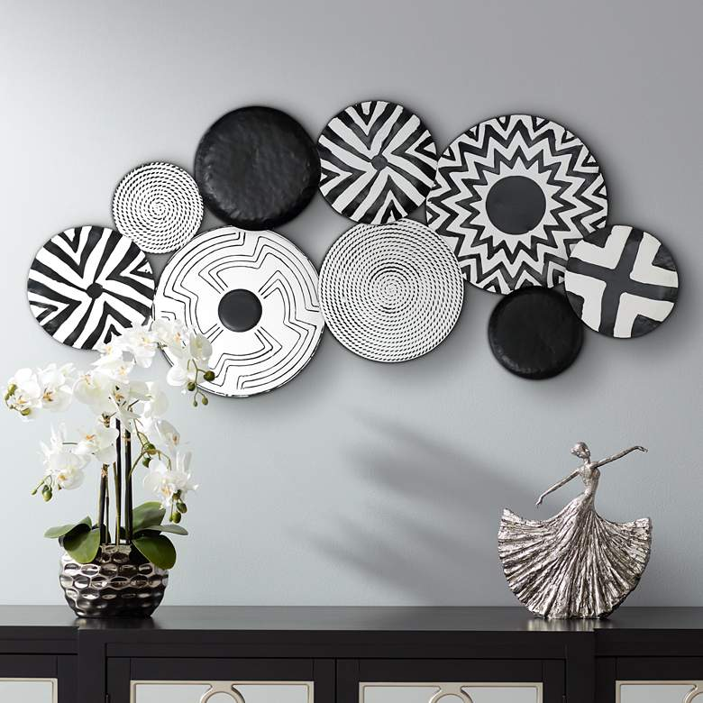 "Abstract Discs 45 1/4"" Wide Black and White Metal Wall Art"