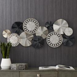 "Abstract Modern Discs 41 1/4"" Wide Metal Wall Art"