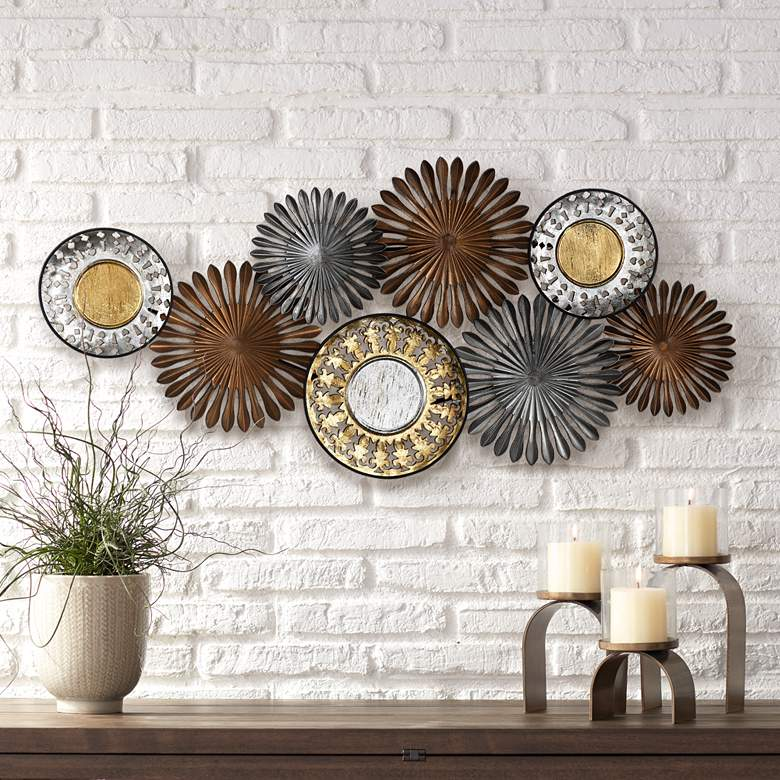 "Sparks and Disks 39 1/4"" Wide Industrial Metal Wall Art"